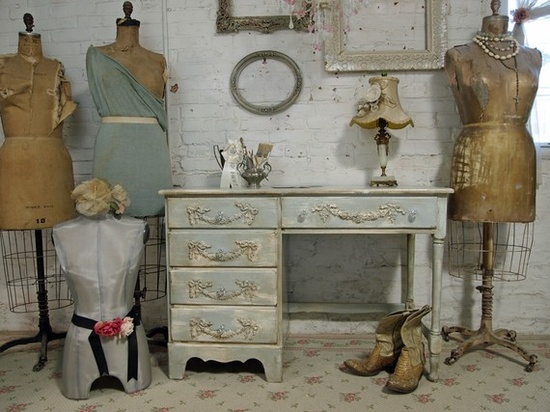 Distressed cottage furniture.