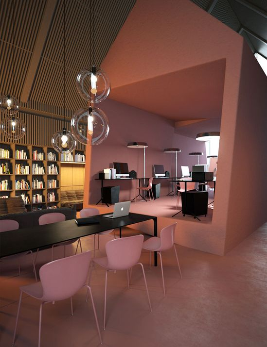 """Probably not pink... but the office/training pod, could be painted out a colour. maybe sage/green? Those hanging lights are cool for bringing scale down in lunch space. Concept Office """"Attic"""" by Vasiliy Butenko."""