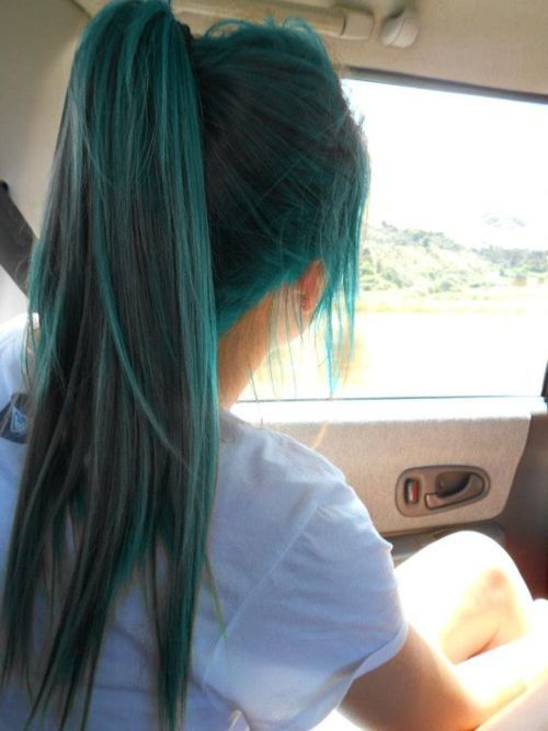 colored hair #blue #hair #beauty #pretty #colored #ponytail #style #fashion