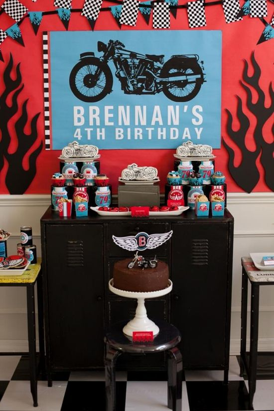 Dessert/treat table and backdrop at a Motorcycle Rally Party with REALLY AWESOME Ideas via Kara's Party Ideas