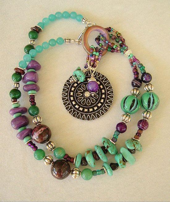 Boho Turquoise Necklace Southwest Necklace Multi by BohoStyleMe