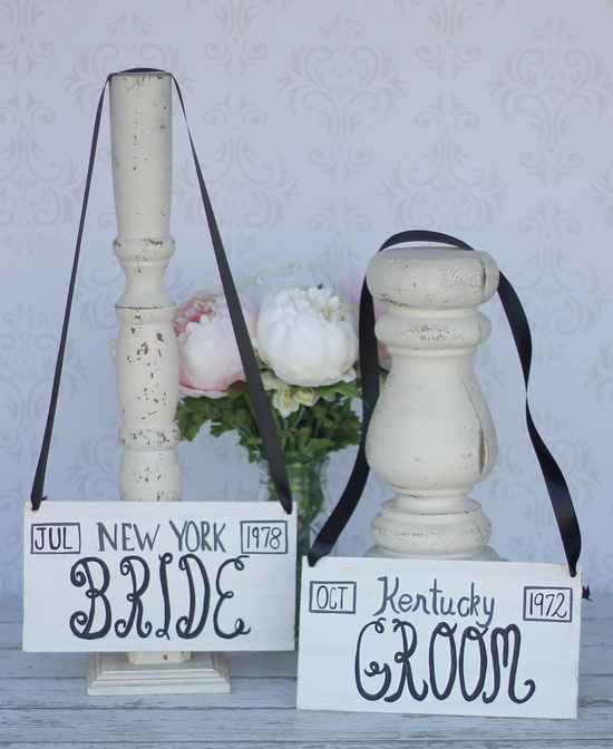 Bride and Groom Chair Signs Custom.   LOOVE THESE