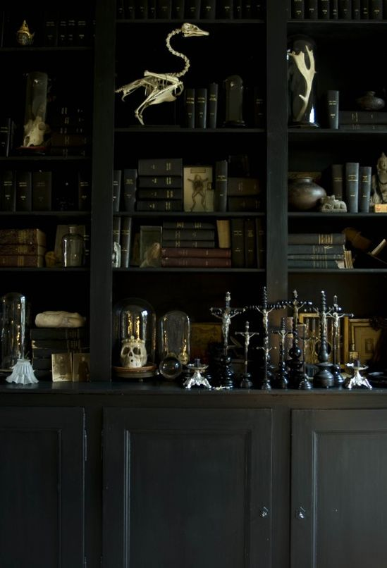 On a trip to Belgium and Antwerp... a hotel on Boulevard Leopold, where the decoration is old-world—full of charm and elegance. In the vast black library a universe of skeletons and skulls, all kinds, glass, an accumulation of crucifix bells...