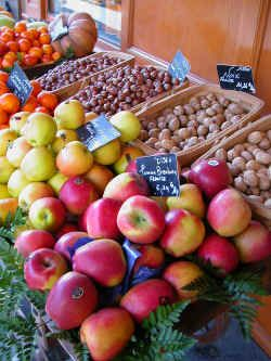 Autumn fruits and nuts