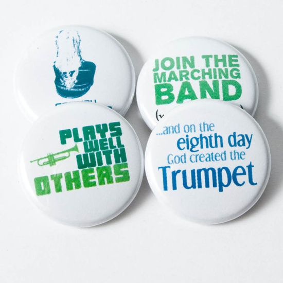 Trumpet Marching Band Magnets  set C by hornandcastle on Etsy, $5.00