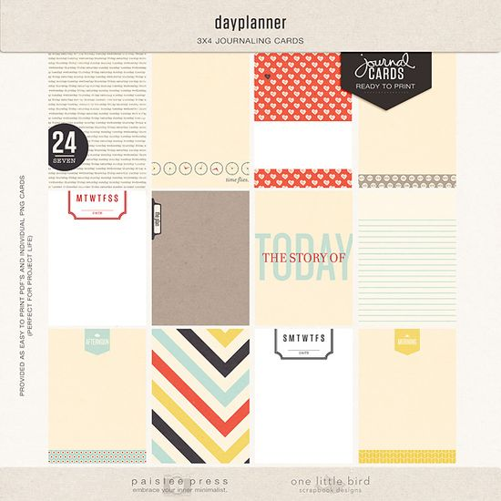 dayplanner journalling cards at The Lilypad. Paislee Press/One Little Bird