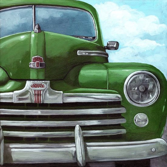 Vintage Green Ford oil painting!