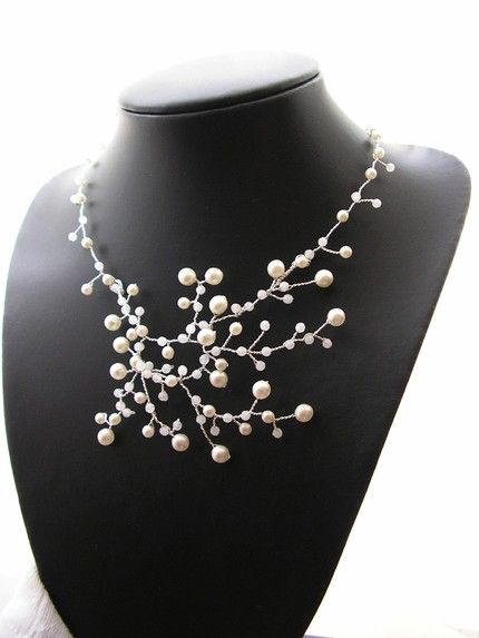 Pearly Pearls #wire #wire_jewelry #pearl #silver #white #jewelry #necklace