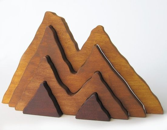 Perfect for a Colorado baby! Large Wooden Mountain: Waldorf inspired nature stacking toy. $25.