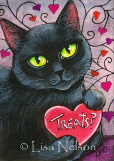 Black Cat Valentines Day Treats ACEO Print by BucksCountyDesigns,