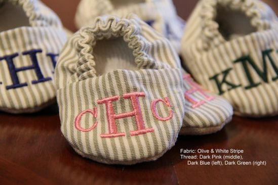 Monogrammed Baby Shoes on Etsy, $26.00