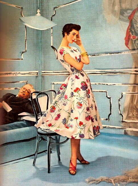A cheerful, sweetly lovely floral print summer dress from 1953. #vintage #retro #1950s #fashion
