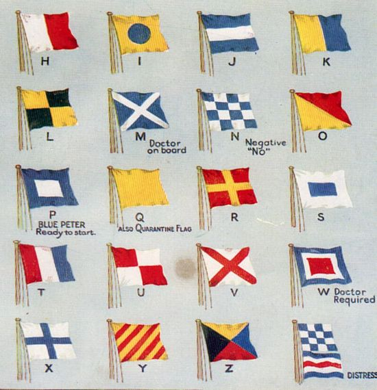 1940s Navy Code Flags Semaphore signal flags nautical flags boy bedroom decor flags