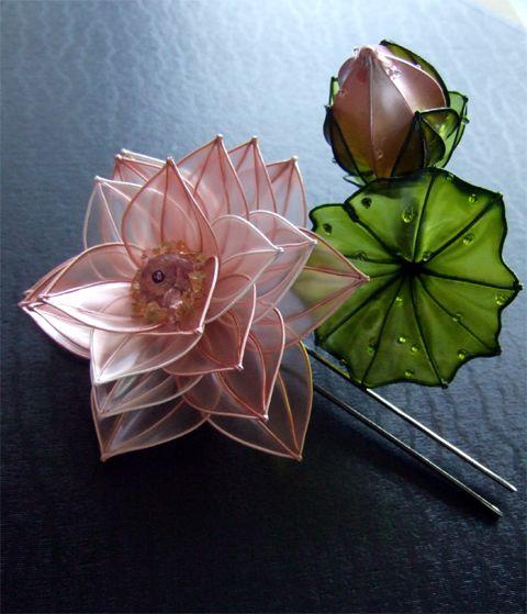 Lotus hair accessory Kanzashi by SAKAE, Japan