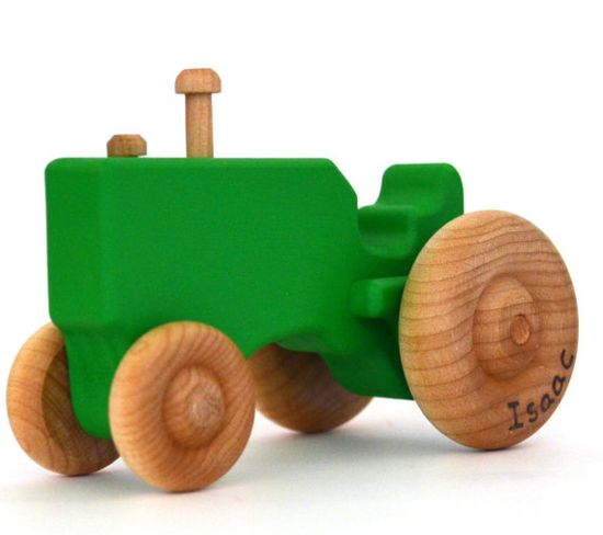 Green Wood Toy Tractor  Personalized Wooden Toy  by hcwoodcraft, $17.00