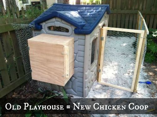 Turn and old kids playhouse into a coop.