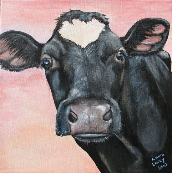 Original Fine Art Holstein cow  painting by Laura by farmyardart