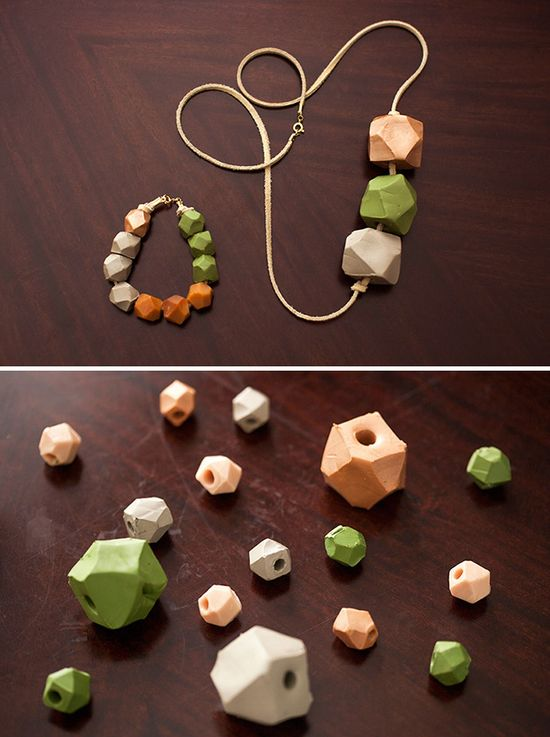 DIY geode statement jewelry with oven-bake clay.