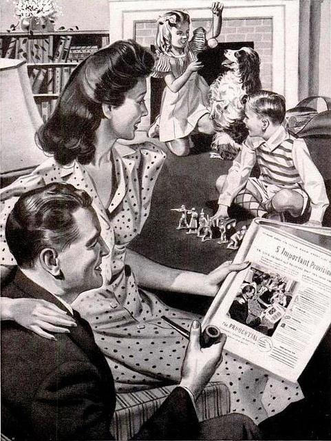 A heartwarming scene of living room domestic bliss from a 1942 Prudential Insurance ad. #vintage #homemaker #housewife #1940s #family #kids #mother #father