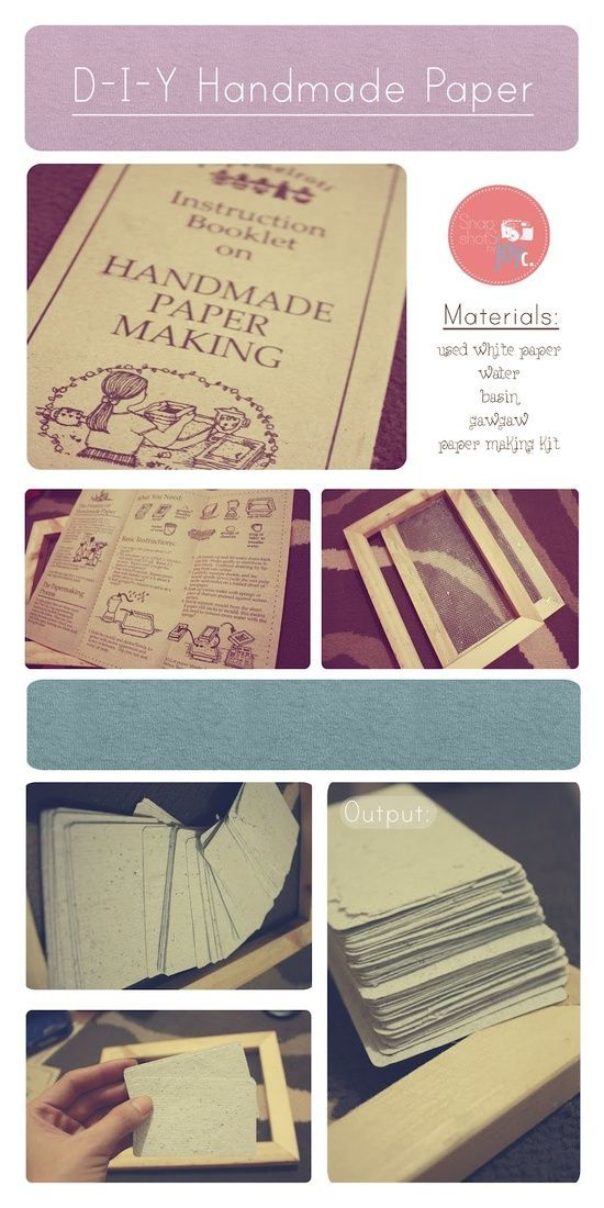 D-I-Y Handmade Paper Making is fun.