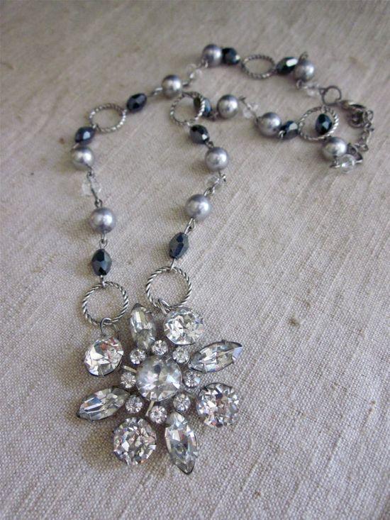 Vintage rhinestone handmade necklace.  ww.etsy.com/shop/frenchfeatherdesigns
