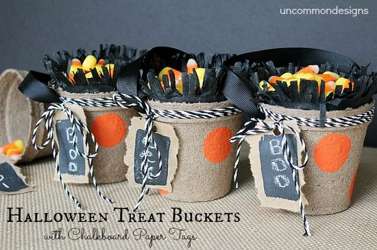 Halloween Treat Buckets with Chalkboard Paper Tags