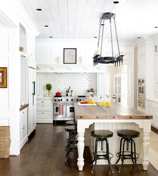 White and Wood Kitchen. LOVE the stools!