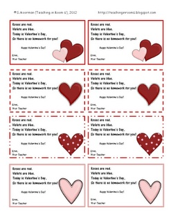 HW Passes to give your students, instead of candy, or buying other Valentines