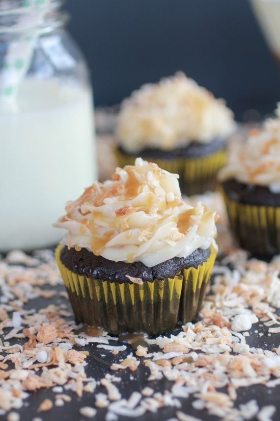 Toasted Coconut Caramel Chocolate Cupcakes