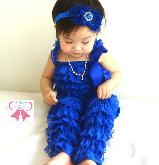 baby romper, Royal Blue Petti lace Romper, lace romper, newborn romper, baby girls outfit, Photo props, baby outfit, 4th of July outfit. $19.99, via Etsy.