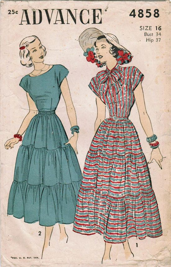 Delightful 1940s dresses both (Advance 4858). #vintage #sewing #pattern #1940s