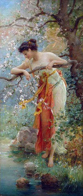 Art painting Hans Zatzka, 1859-1949, Spring Beauty