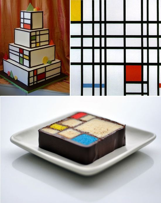 Art-inspired cakes! (Piet Mondrian's Composition with Yellow, Blue, and Red)