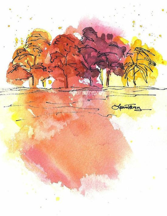 Colors of Fall Watercolor Print by lauratrevey on Etsy, $20.00