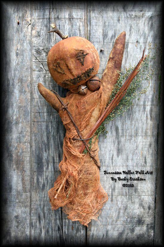 Primitive Folk Art Halloween JackOLantern Ghost by TnHollerFolkArt, $6.50