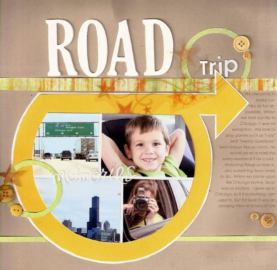 #papercraft #scrapbook #layout Like this graphic page - Road trip scrapbook layout