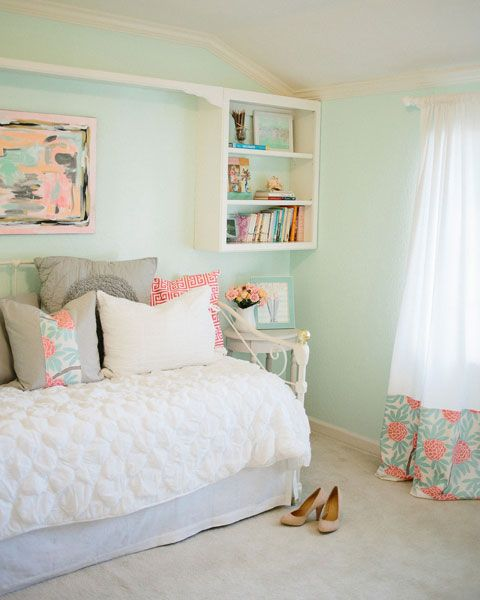 IHeart Organizing: Reader Space: A Beautifully Designed Bedroom...wall color:Sea Cap by Behr