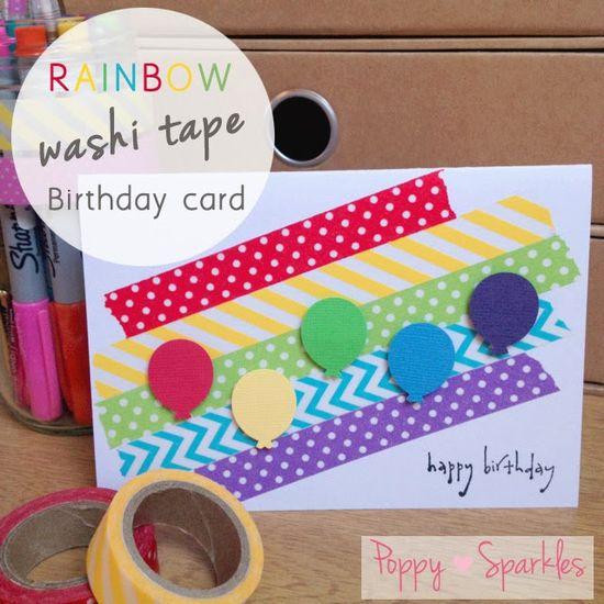Rainbow Washi Tape Birthday card #handmade #craft #diy #rainbow #washi #washitape #balloons #birthday #stationery