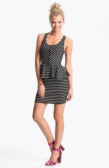 Lush Cutout Striped Peplum Dress (Juniors)