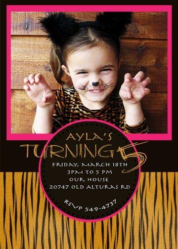 Tiger Birthday Party Invite. $14.00, via Etsy.