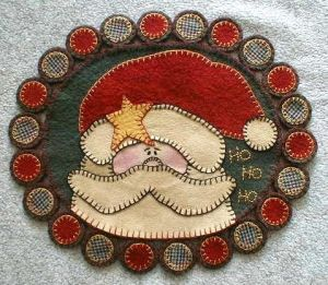 santa penny rug by K