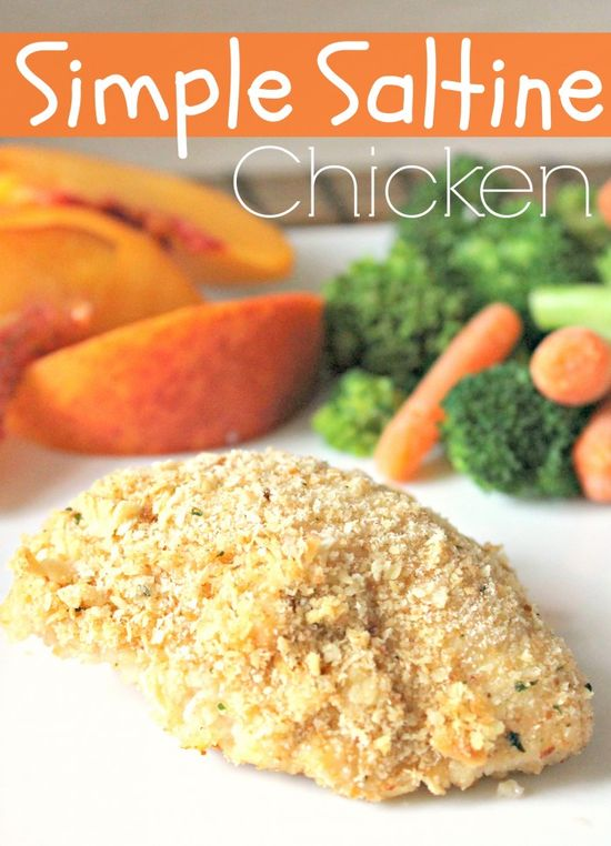 The easiest baked chicken you will ever make! Simple Saltine Chicken from sixsistersstuff.com #chicken #maindish #recipe