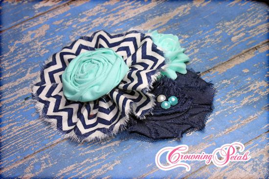 Aqua Navy White Hair Accessory Baby Girl's by CrowningPetals, $21.50
