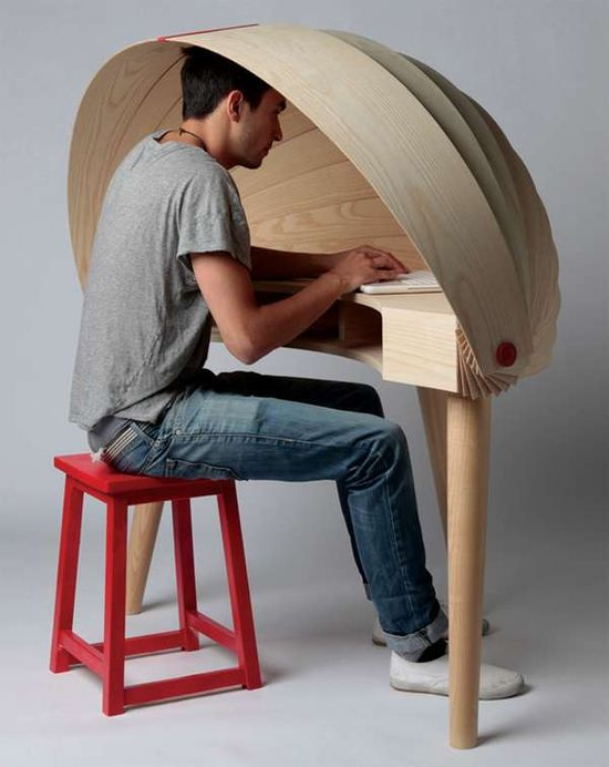 The Duplex Workspace Desk Has a Convenient Built-In Cover #homedecor trendhunter.com