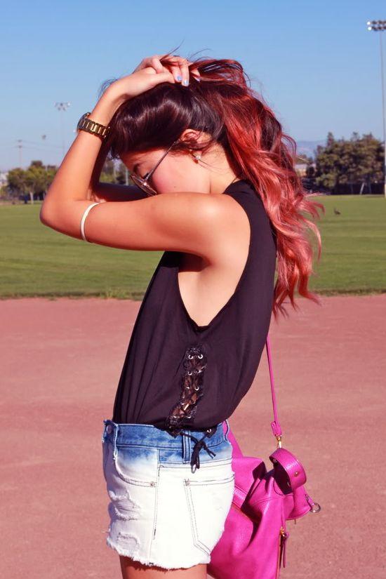 pink dip-dye hair