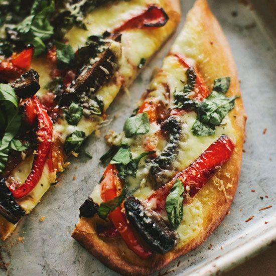 Portobello Mushroom and Red Pepper Pizza // More Terrific Vegetarian Recipes: www.foodandwine.c... #foodandwine