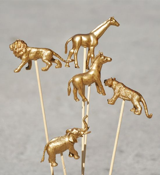Golden animals!  As cake toppers :-)