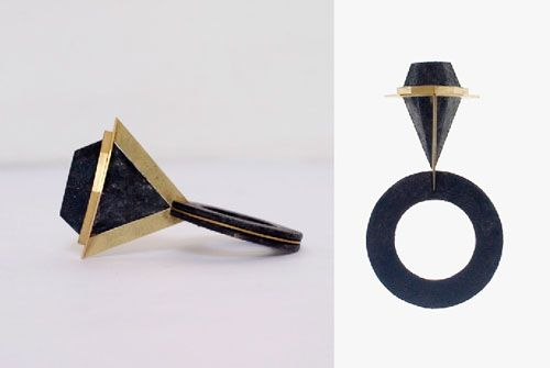 Philip Sajet  Ring: Black Marquise 2011  Niello on silver, gold
