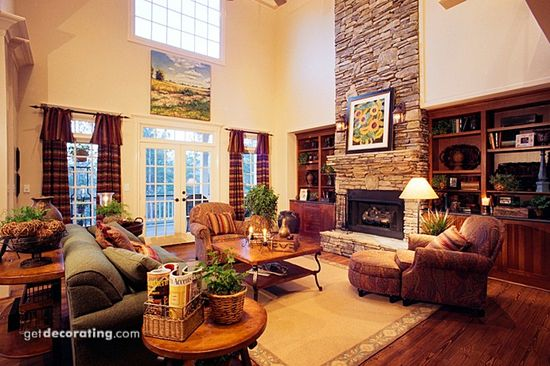 Fireplace and book shelves with lower ceiling. Like it!
