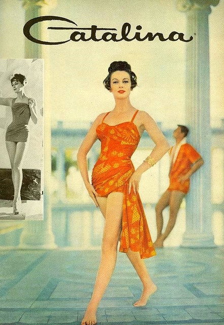 I think that my husband would adore this 1950s swimsuit (on me), as orange is his favourite colour. #1950s #vintage #fifties #makeup #beauty #cosmetics #fashion #style #swimsuit #swimming #summer #vacation #bathingsuit